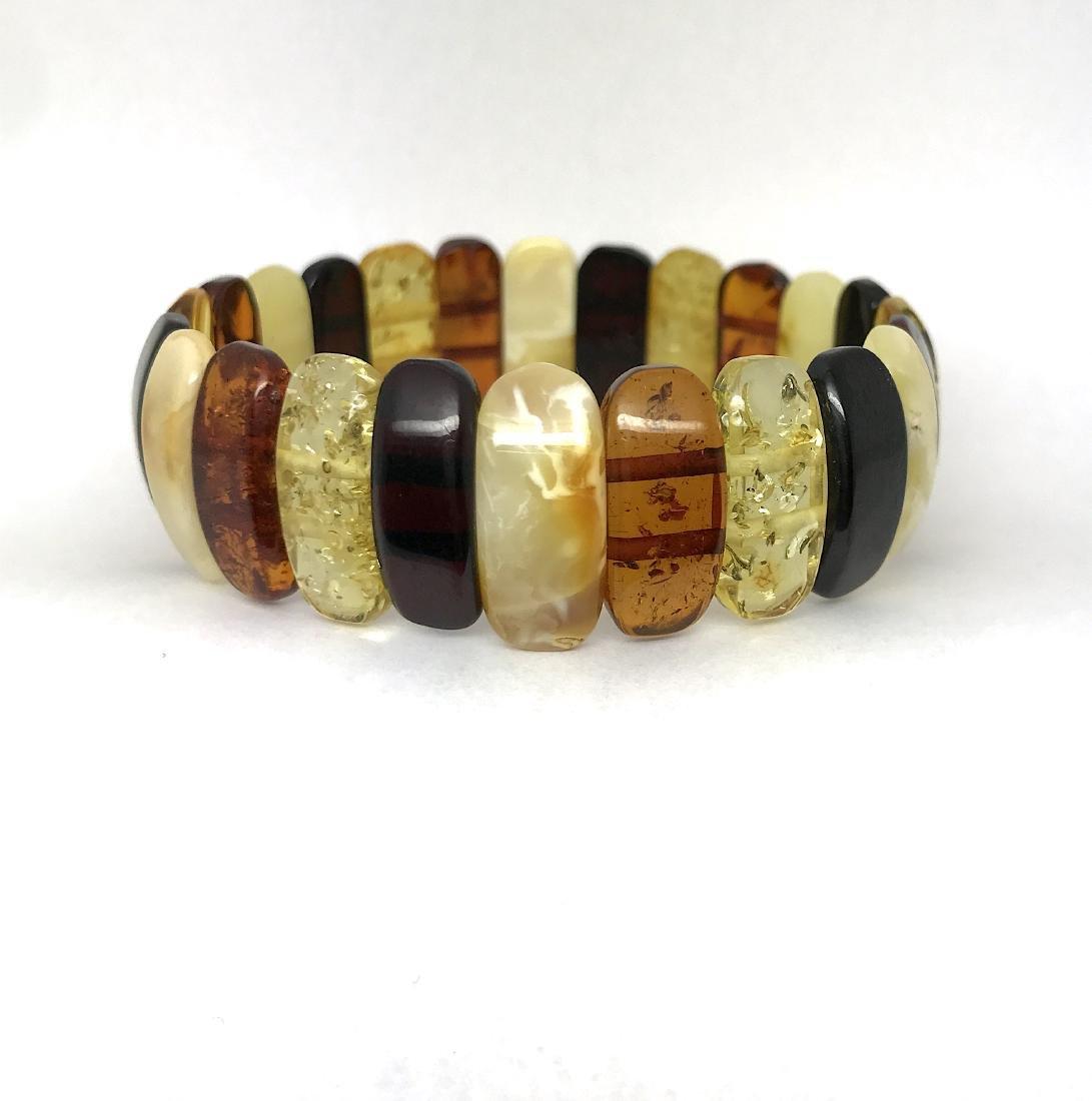 Vintage cut Baltic amber cabochons bracelet 15.1 gr - 2