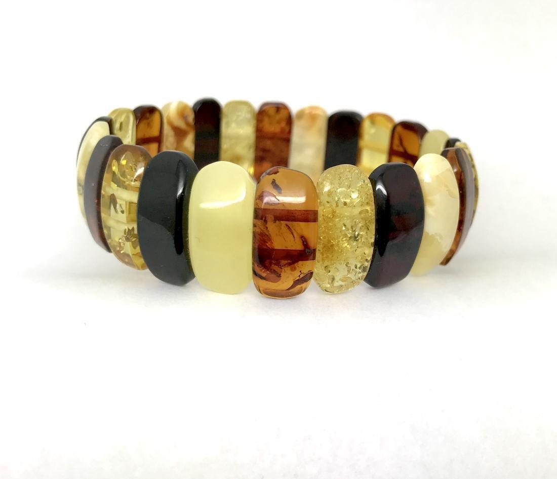 Vintage cut Baltic amber cabochons bracelet 15.1 gr - 3