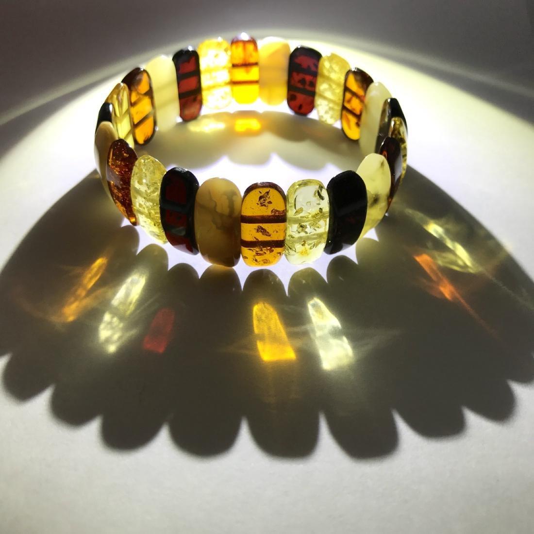 Vintage cut Baltic amber cabochons bracelet 15.1 gr - 4