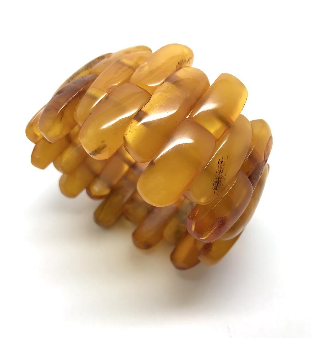 Antique cut Baltic amber cabochons bracelet 53.2 gr