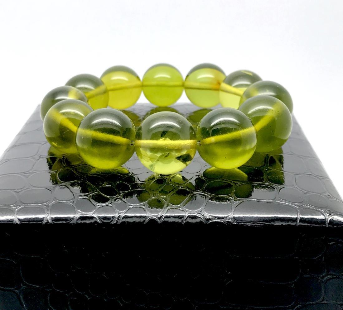 Cut young amber beads bracelet 24.6 gr