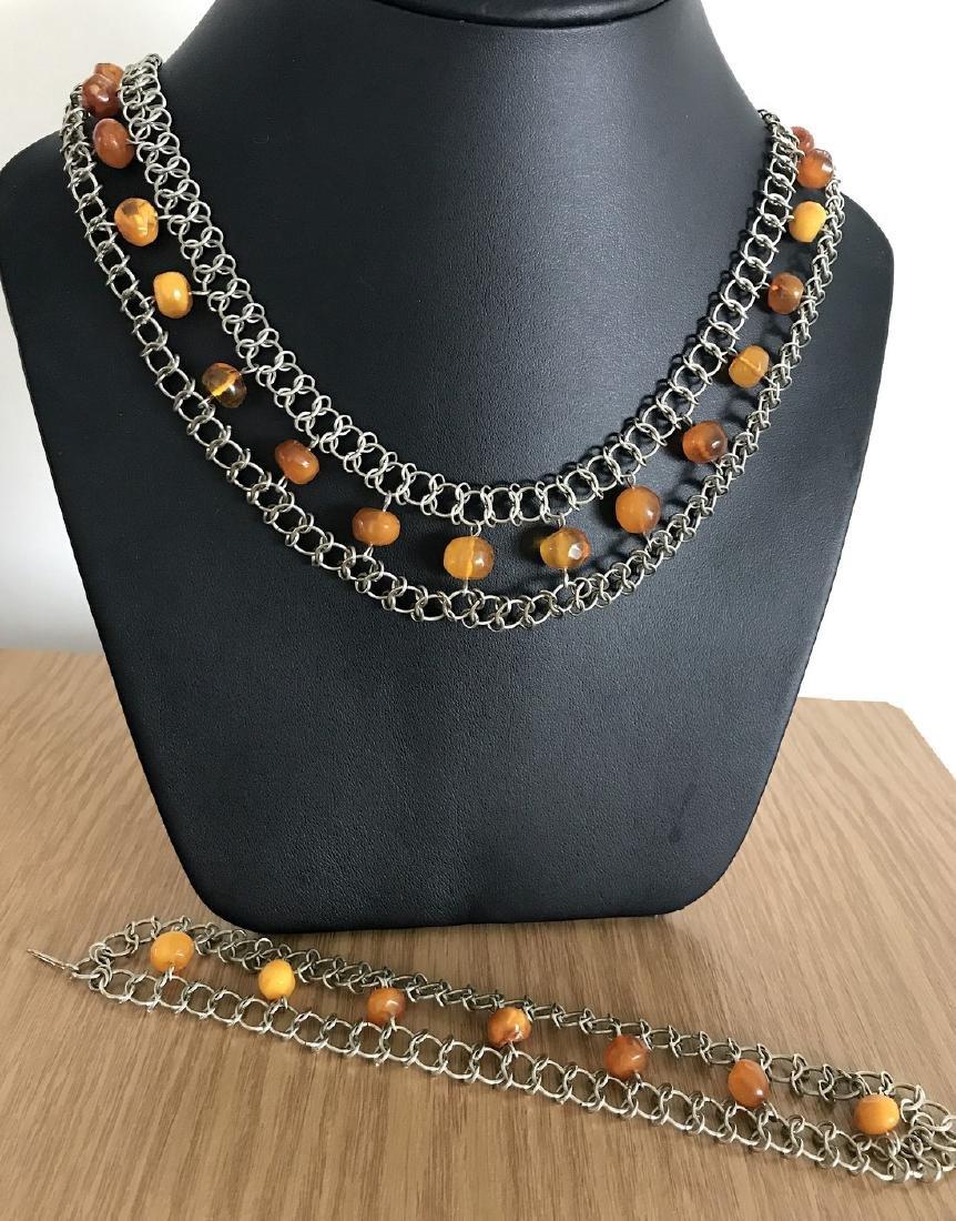 Vintage Art deco collar & bracelet set with Baltic