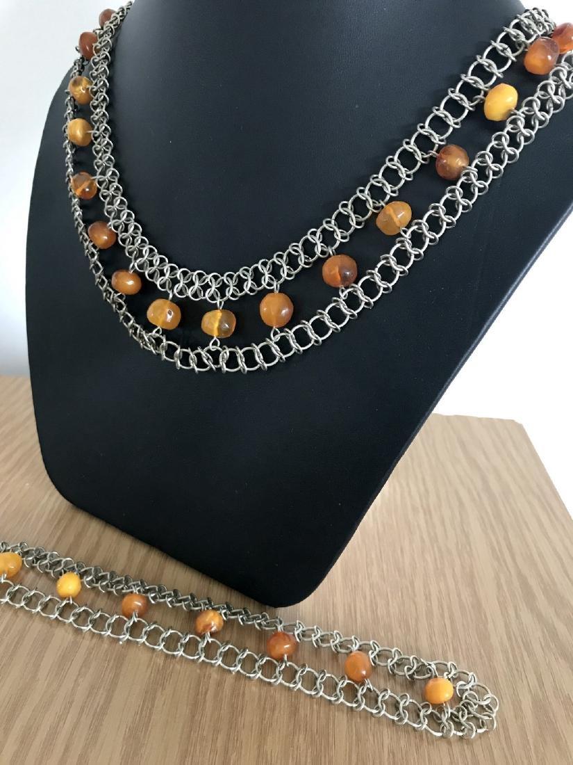 Vintage Art deco collar & bracelet set with Baltic - 2