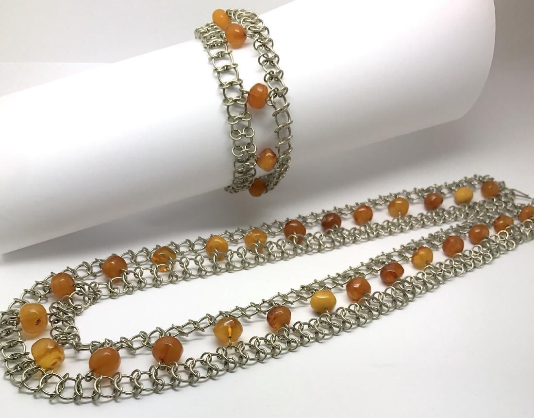 Vintage Art deco collar & bracelet set with Baltic - 3