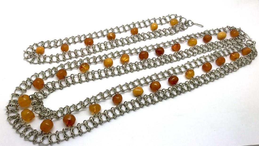 Vintage Art deco collar & bracelet set with Baltic - 4