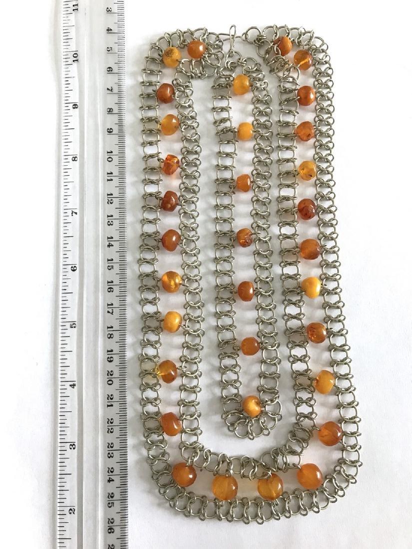 Vintage Art deco collar & bracelet set with Baltic - 5