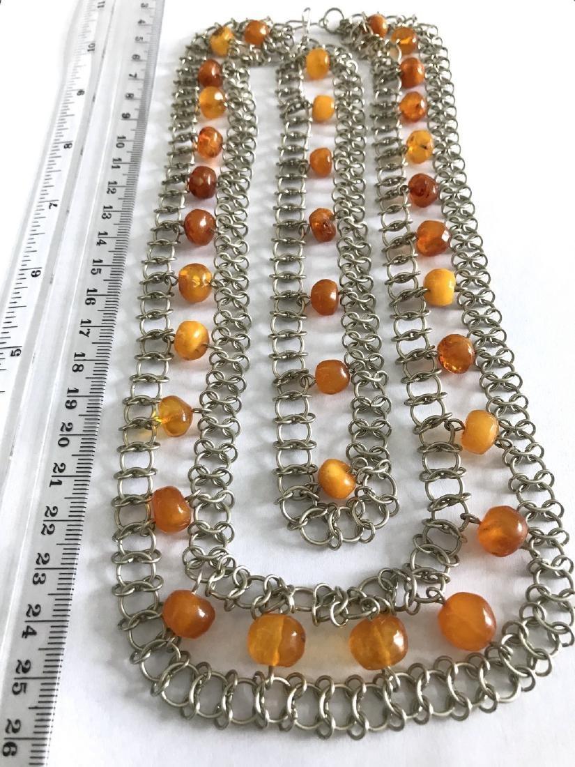 Vintage Art deco collar & bracelet set with Baltic - 6