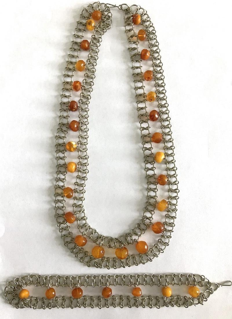 Vintage Art deco collar & bracelet set with Baltic - 7