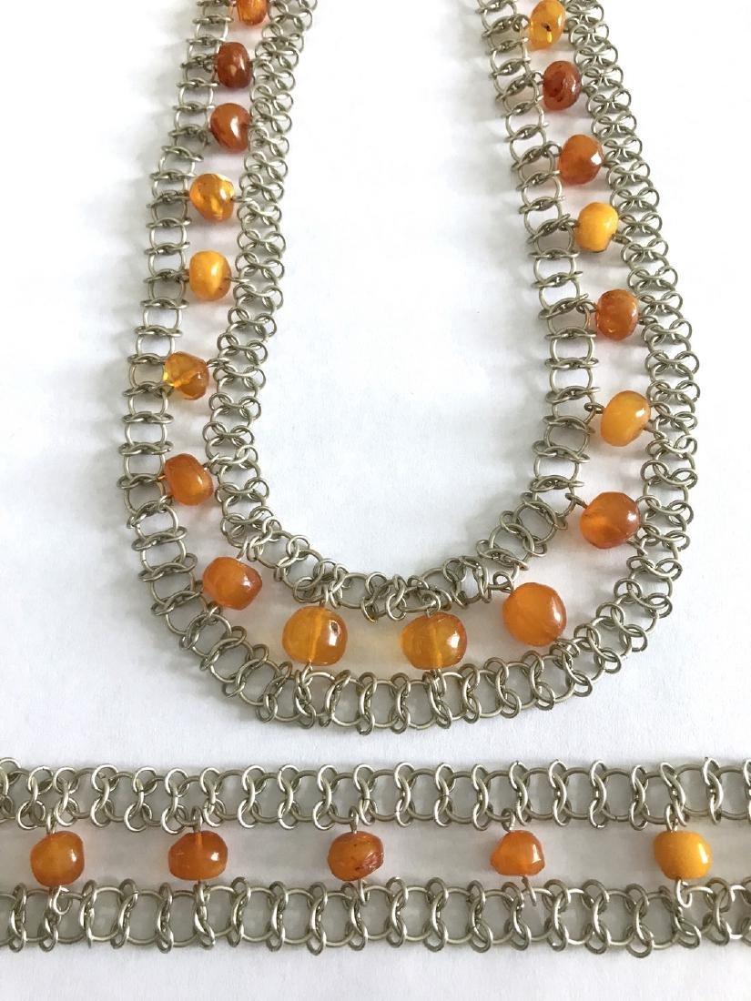 Vintage Art deco collar & bracelet set with Baltic - 8