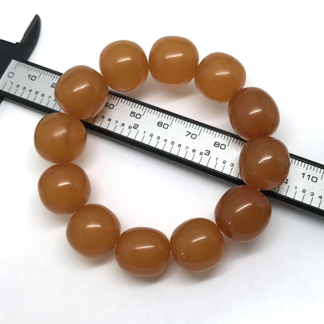 Art deco Baltic Amber bracelet in opaque butterscotch - 6