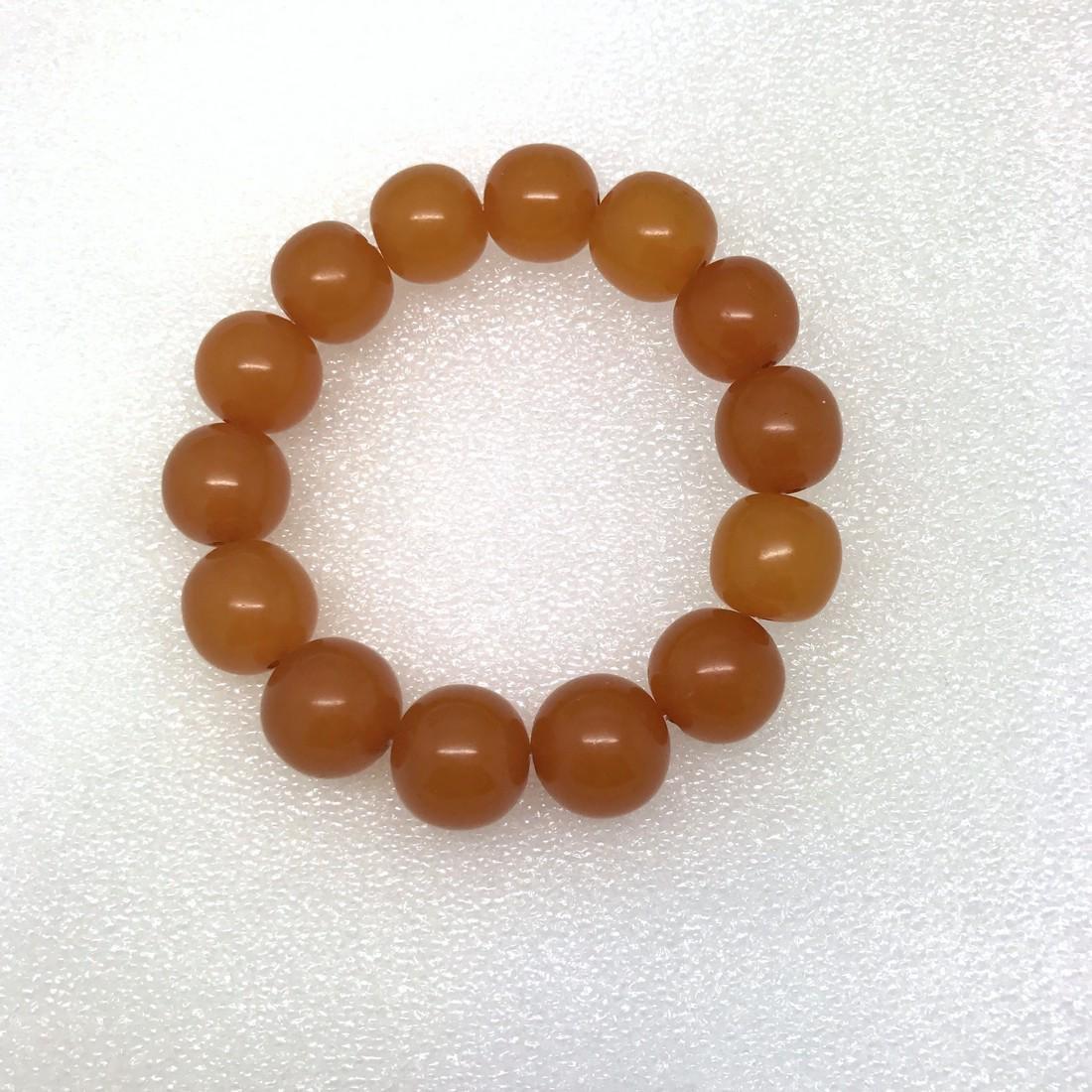Art deco Baltic Amber bracelet in opaque butterscotch - 2