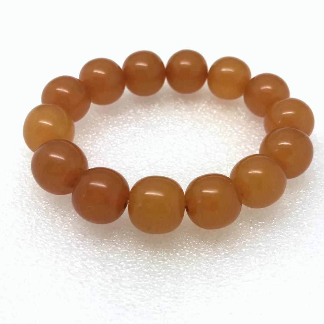Art deco Baltic Amber bracelet in opaque butterscotch - 3