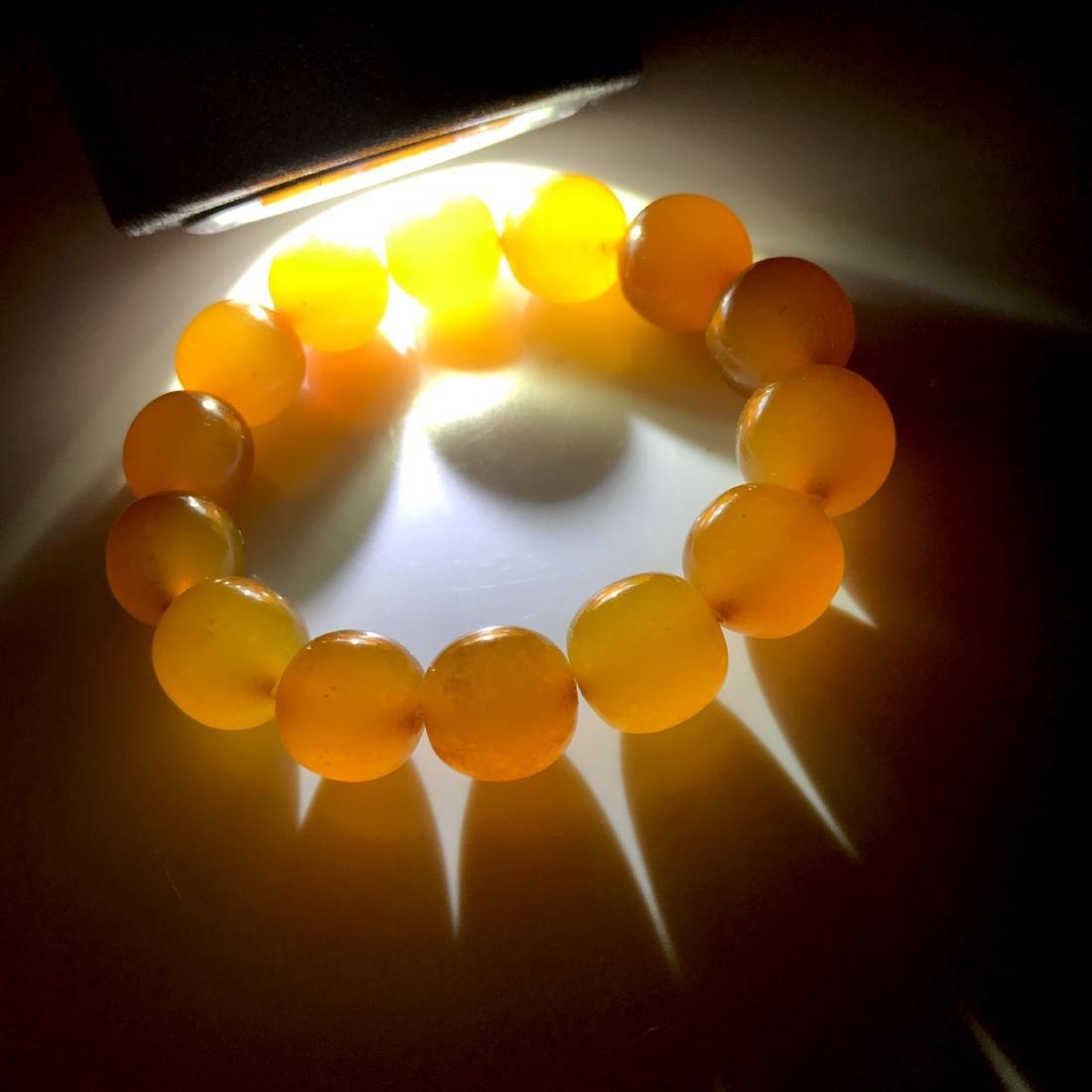 Art deco Baltic Amber bracelet in opaque butterscotch - 8