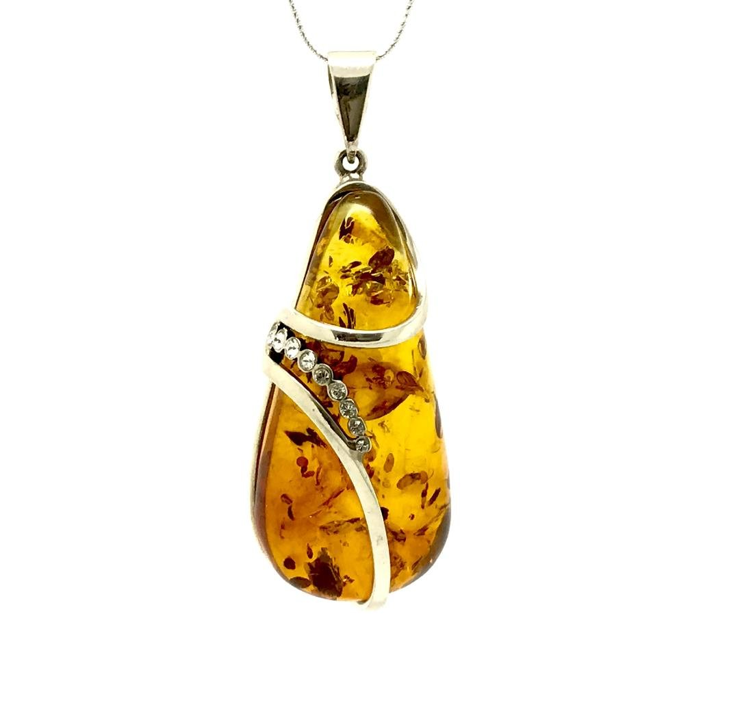 Vintage sterling silver drop pendant with Baltic amber - 2