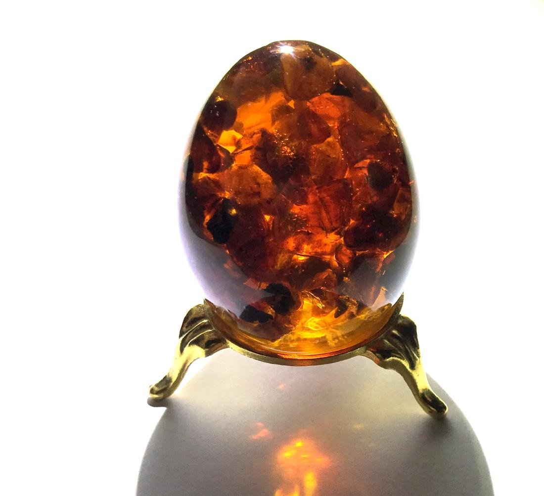 Fine egg sphere with Baltic amber 79.8 gr
