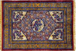 19th Century Silk and Metal Chinese Rug 8.9x6.2