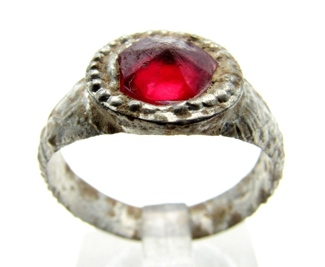 Late Medieval Tudor Pewter Ring with Red Stone