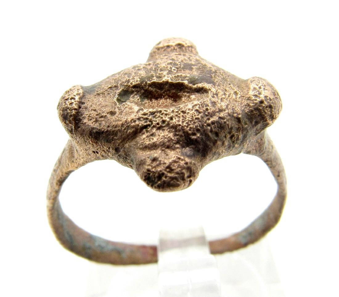 Medieval Viking Decorated Ring with Cross Shaped Bezel