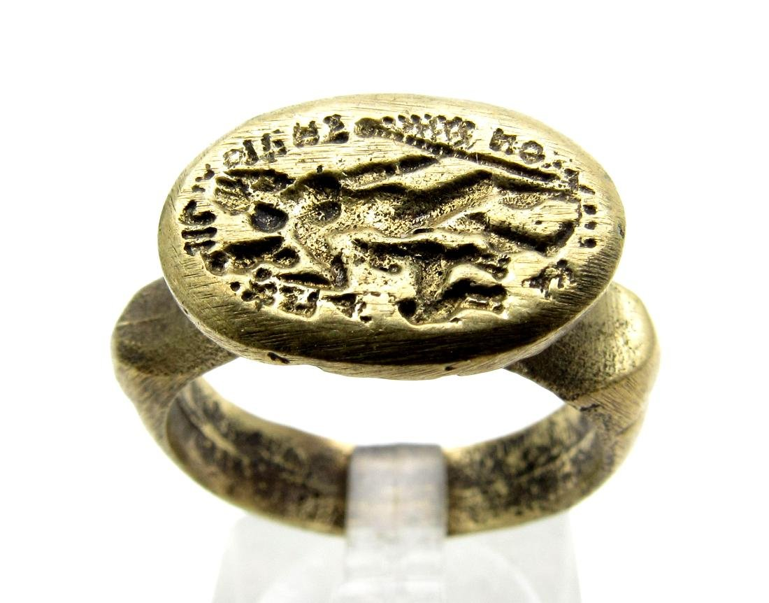 Post Medieval Bronze Ring with Greek Warrior