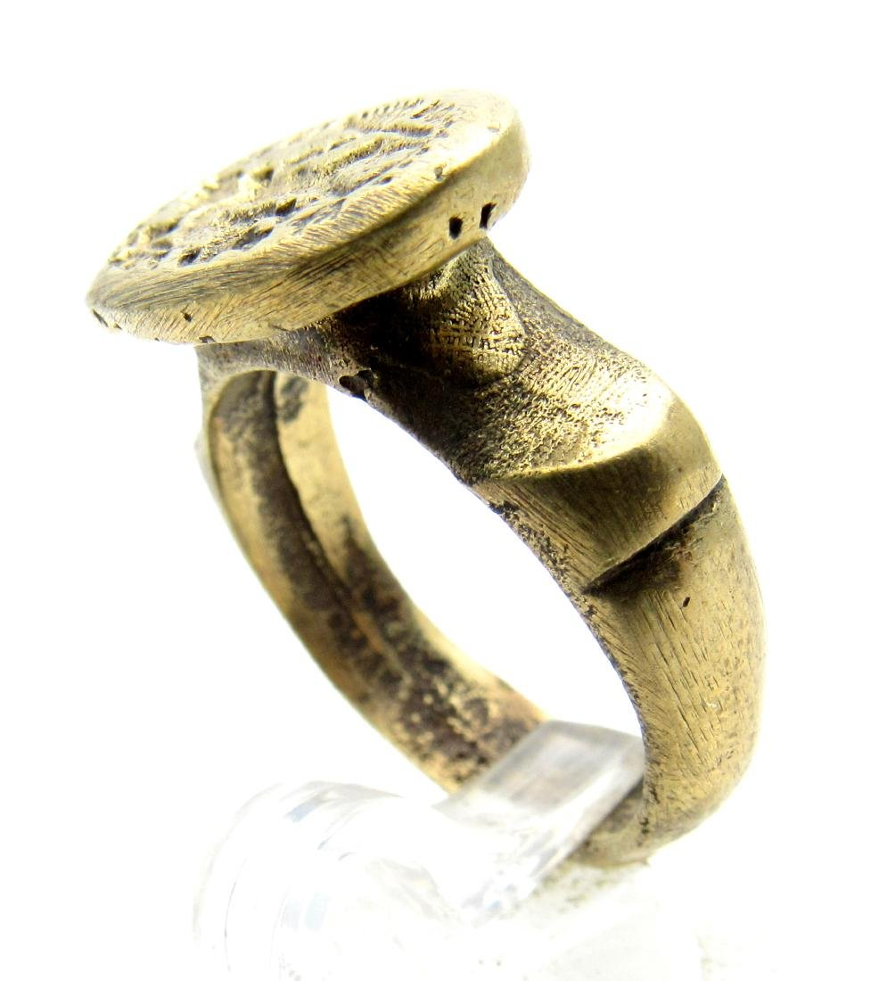Post Medieval Bronze Ring with Greek Warrior - 3