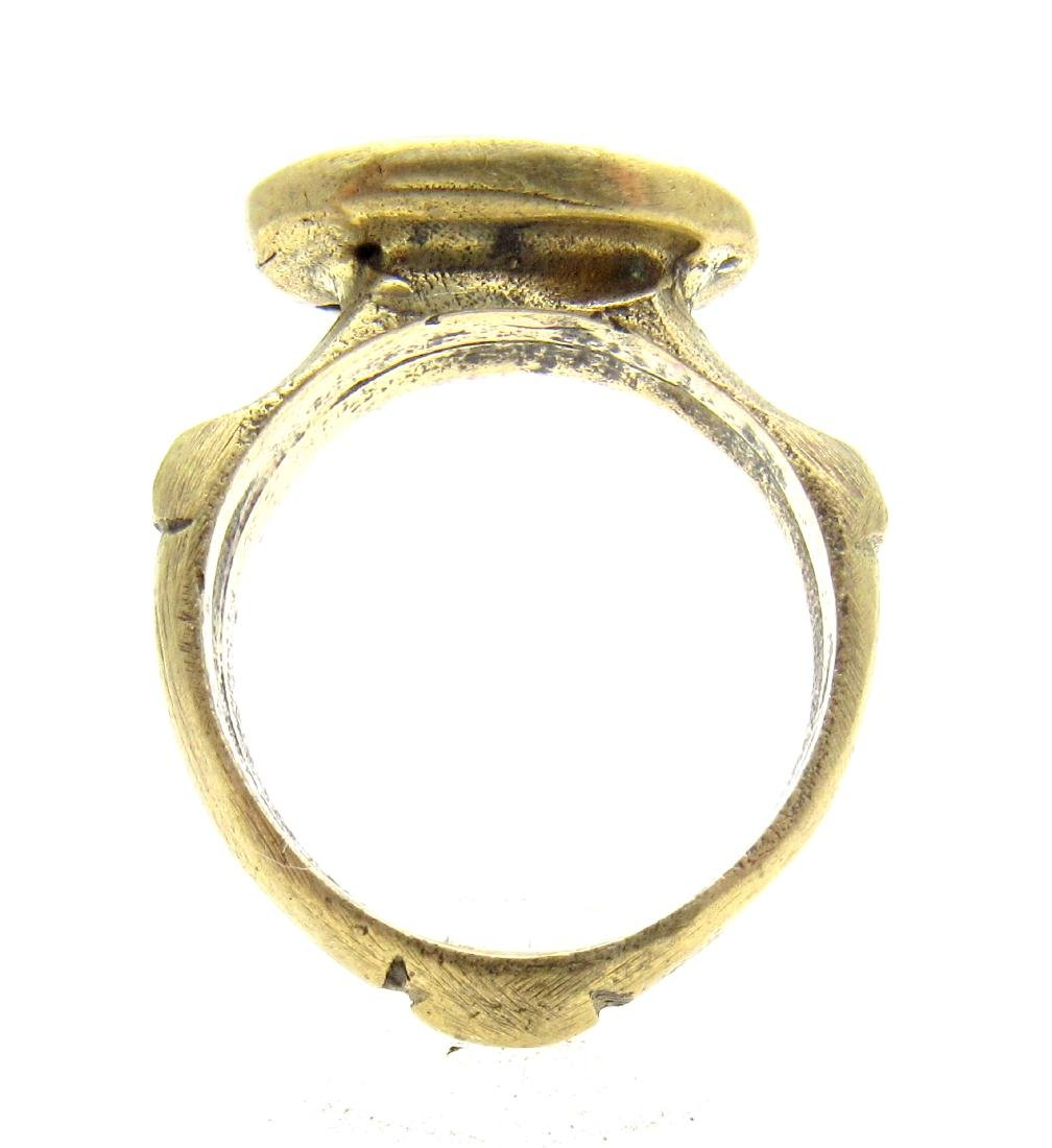 Post Medieval Bronze Ring with Greek Warrior - 4