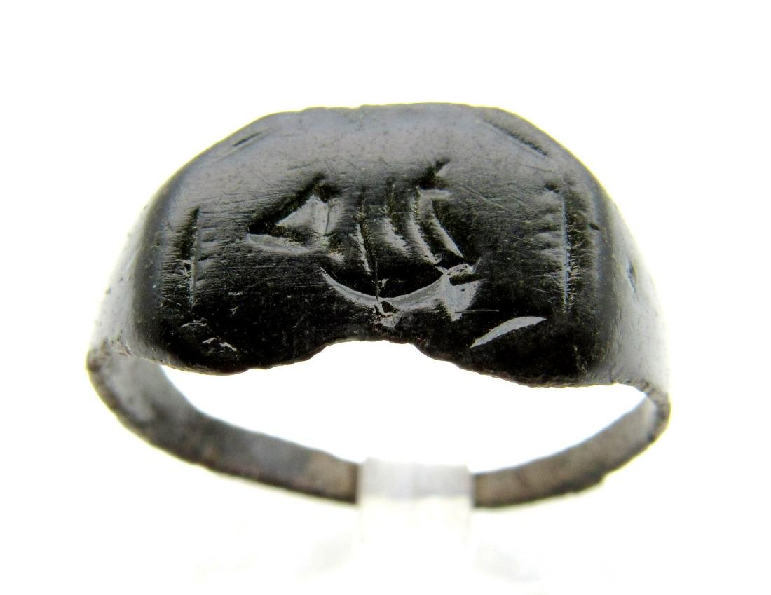 Ancient Roman Bronze Fishermans Ring with Boat
