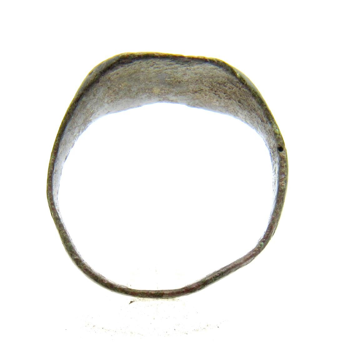 Ancient Roman Bronze Fishermans Ring with Boat - 3