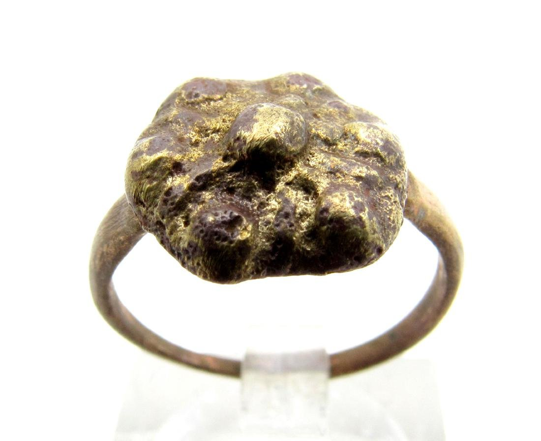 Late Medieval Bronze Floral Ring