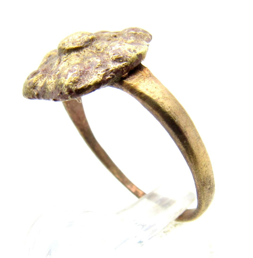 Late Medieval Bronze Floral Ring - 2