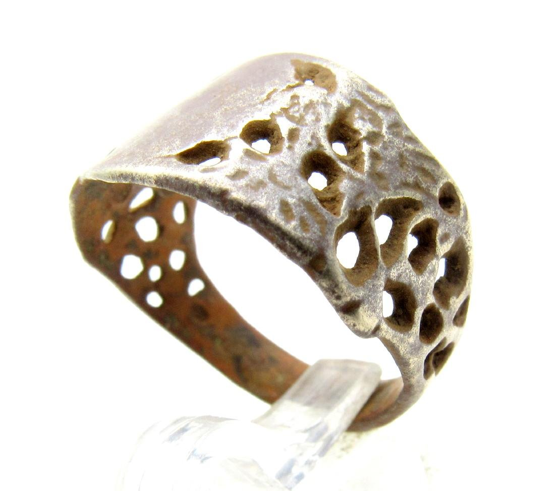 Post Medieval Open-Work Decorated Ring - 2