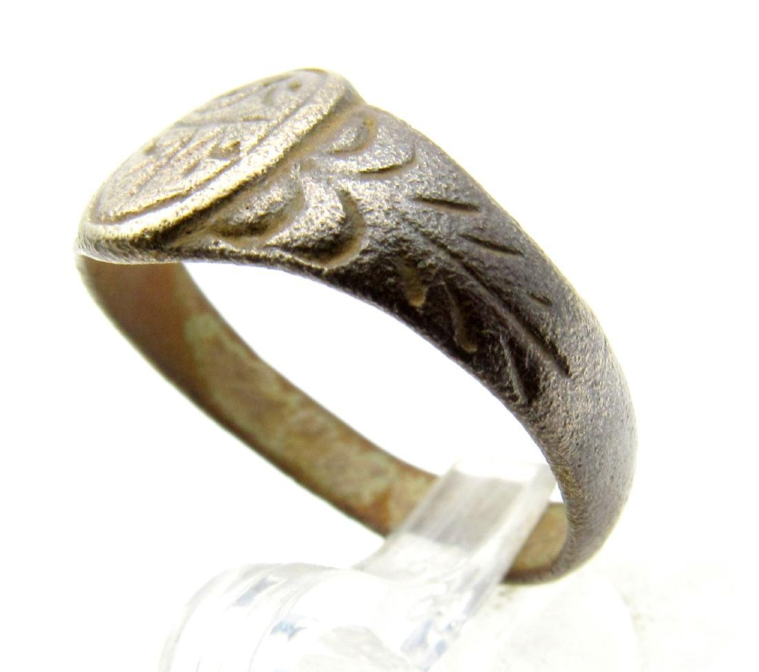 Late Medieval Tudor Decorated Bronze Ring - 2