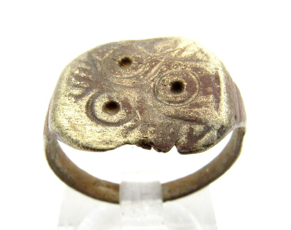 Medieval Saxon Bronze Ring with Evils Eye Motif