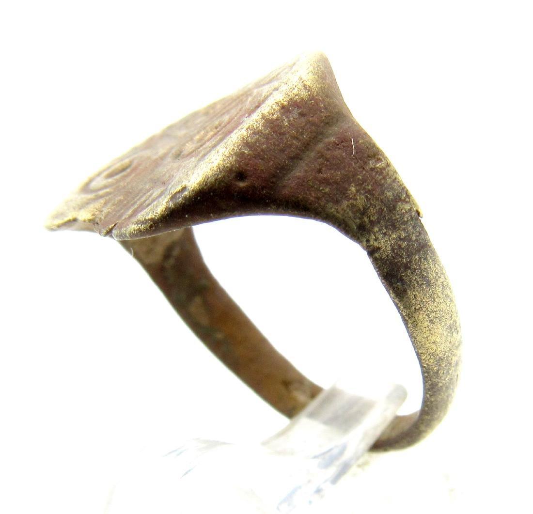 Medieval Saxon Bronze Ring with Evils Eye Motif - 2