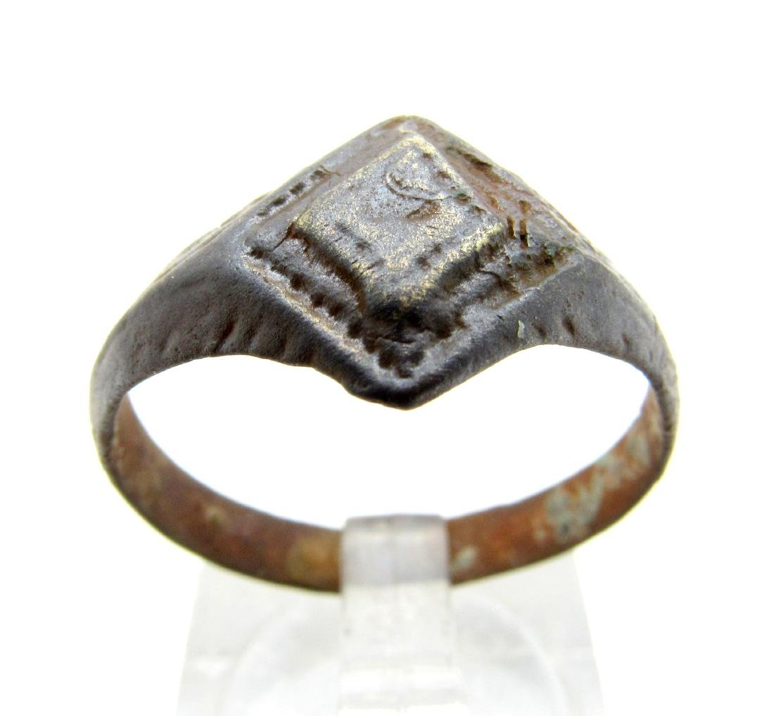 Ancient Roman Bronze Ring with Diamond Shaped Bezel