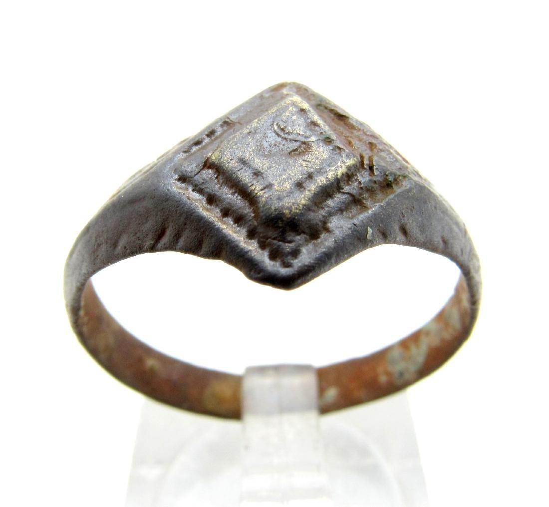 Ancient Roman Bronze Ring with Diamond Shaped Bezel