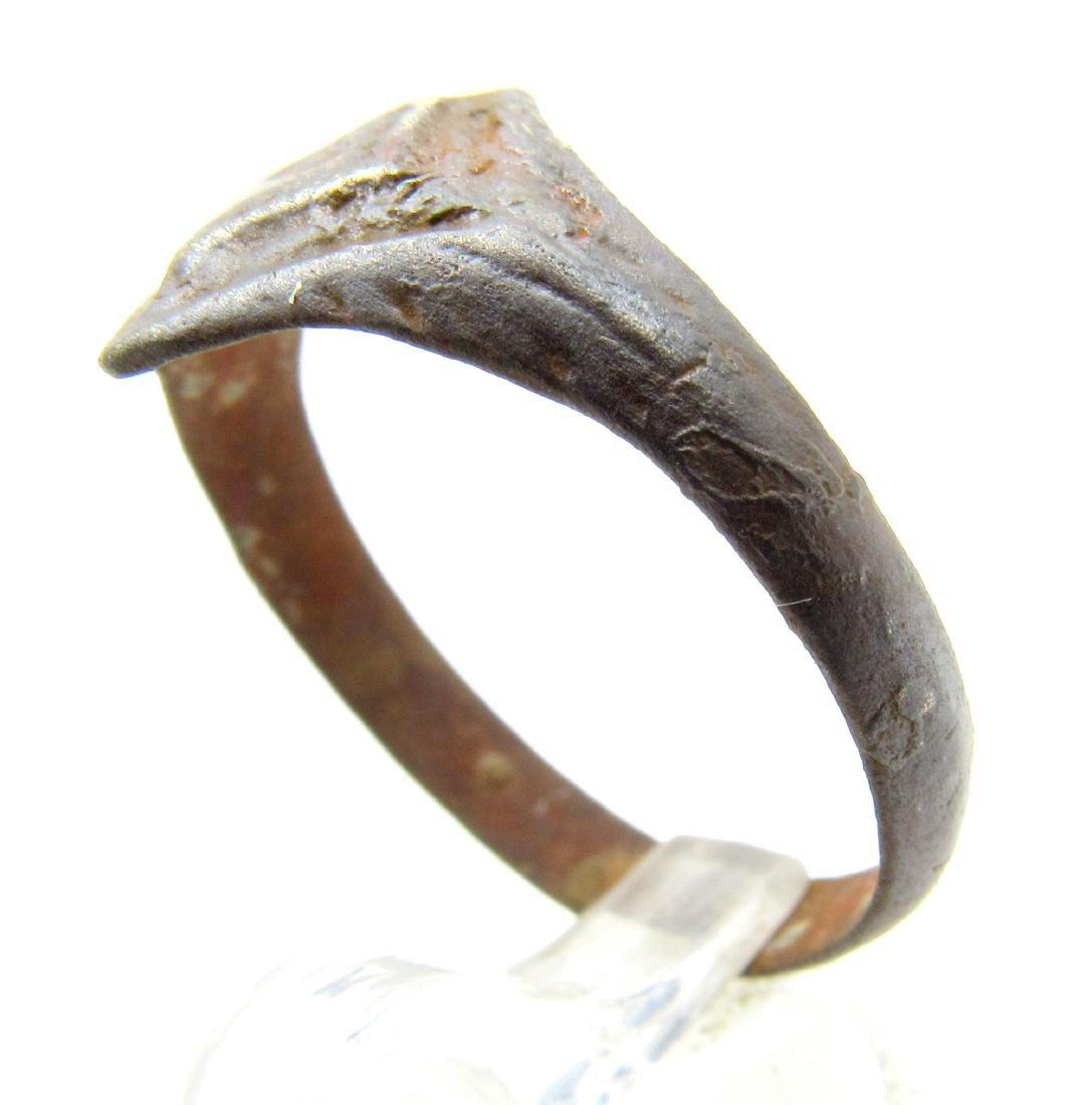 Ancient Roman Bronze Ring with Diamond Shaped Bezel - 2