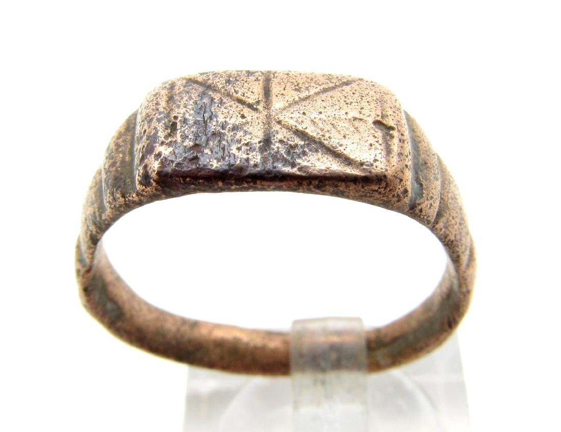 Ancient Roman Bronze Ring with Star on Bezel