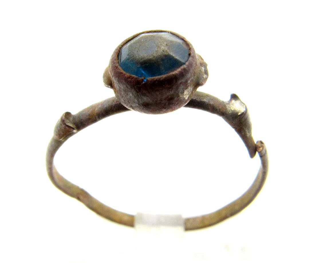 Post Medieval Bronze Ring with Blue Stone