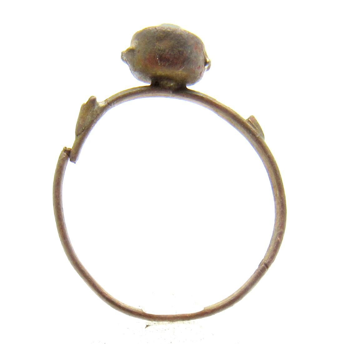 Post Medieval Bronze Ring with Blue Stone - 3