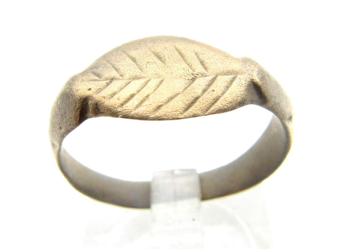 Ancient Roman Bronze Ring with Leaf on Bezel
