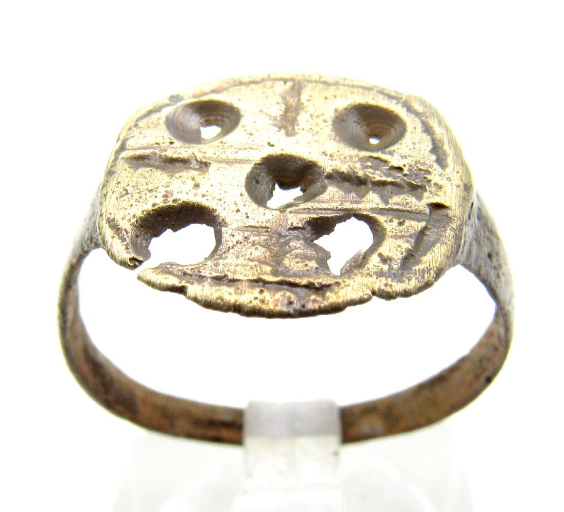 Medieval Viking Bronze Ring with Cross & Evils Eyes