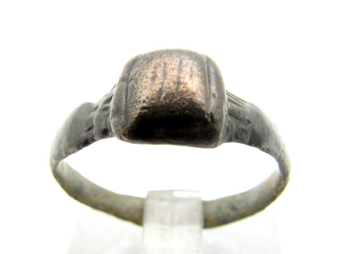 Ancient Roman Bronze Ring with Square Bezel