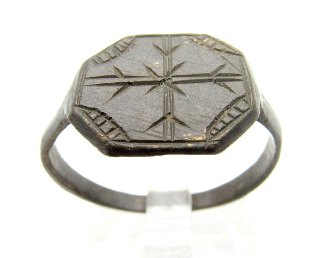 Medieval Crusaders Bronze Ring with Cross
