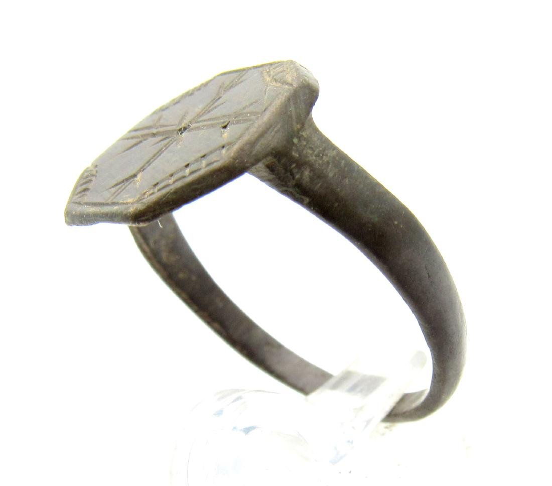 Medieval Crusaders Bronze Ring with Cross - 2