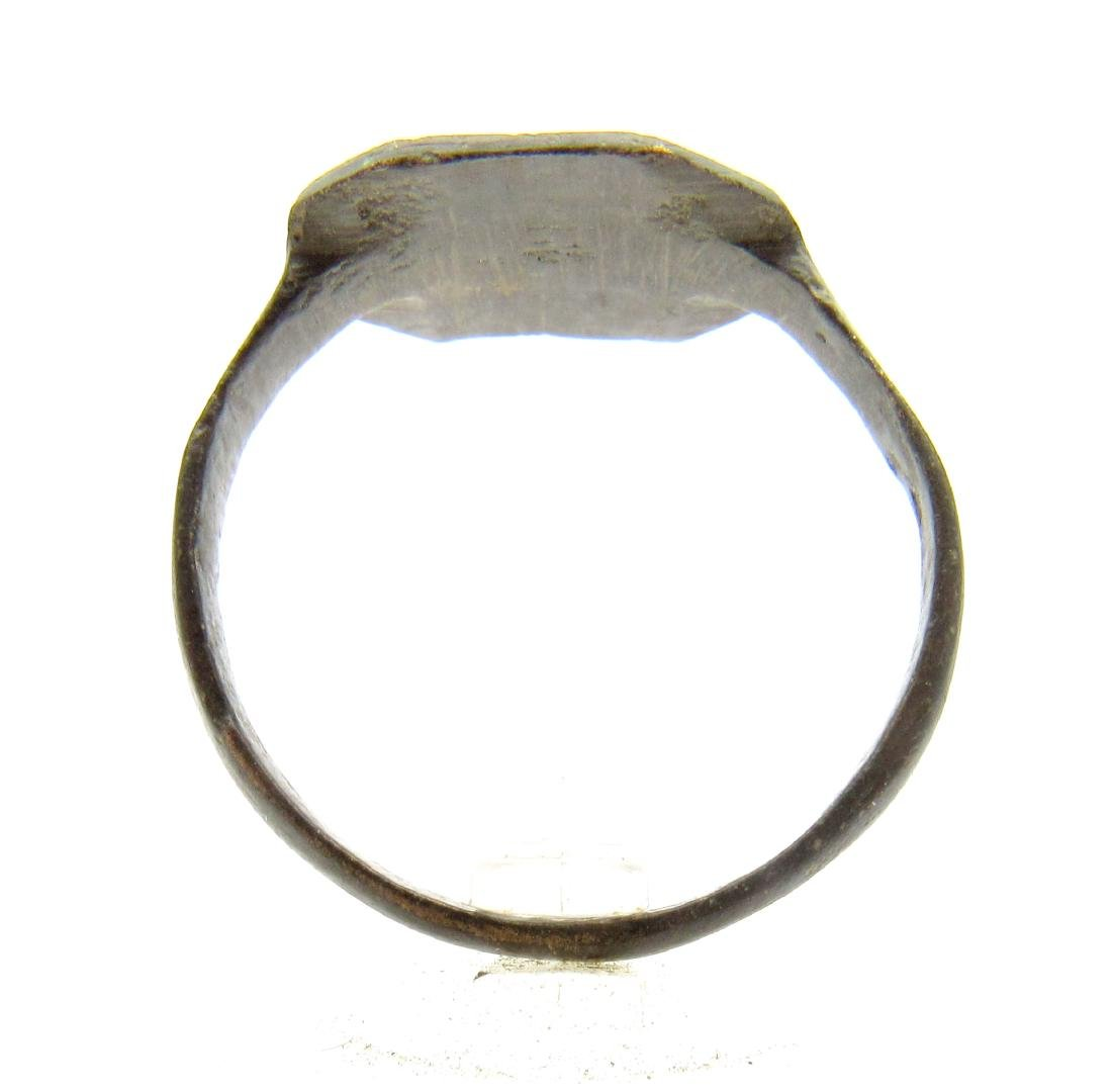 Medieval Crusaders Bronze Ring with Cross - 3