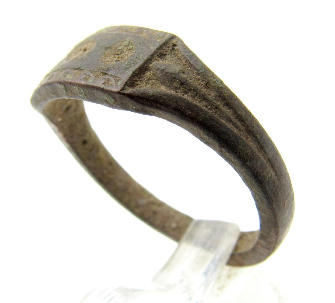 Medieval Bronze Decorated Ring with Evils Eye - 2