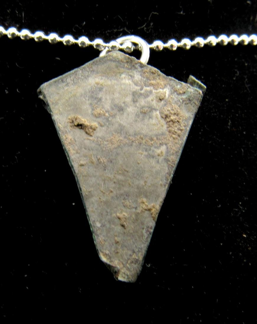 Medieval Viking Silver Pendant with Blue Stone - 2