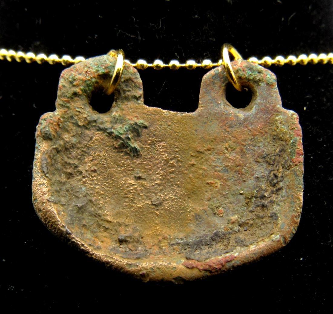 Medieval Bronze Decorated Pendant - 2
