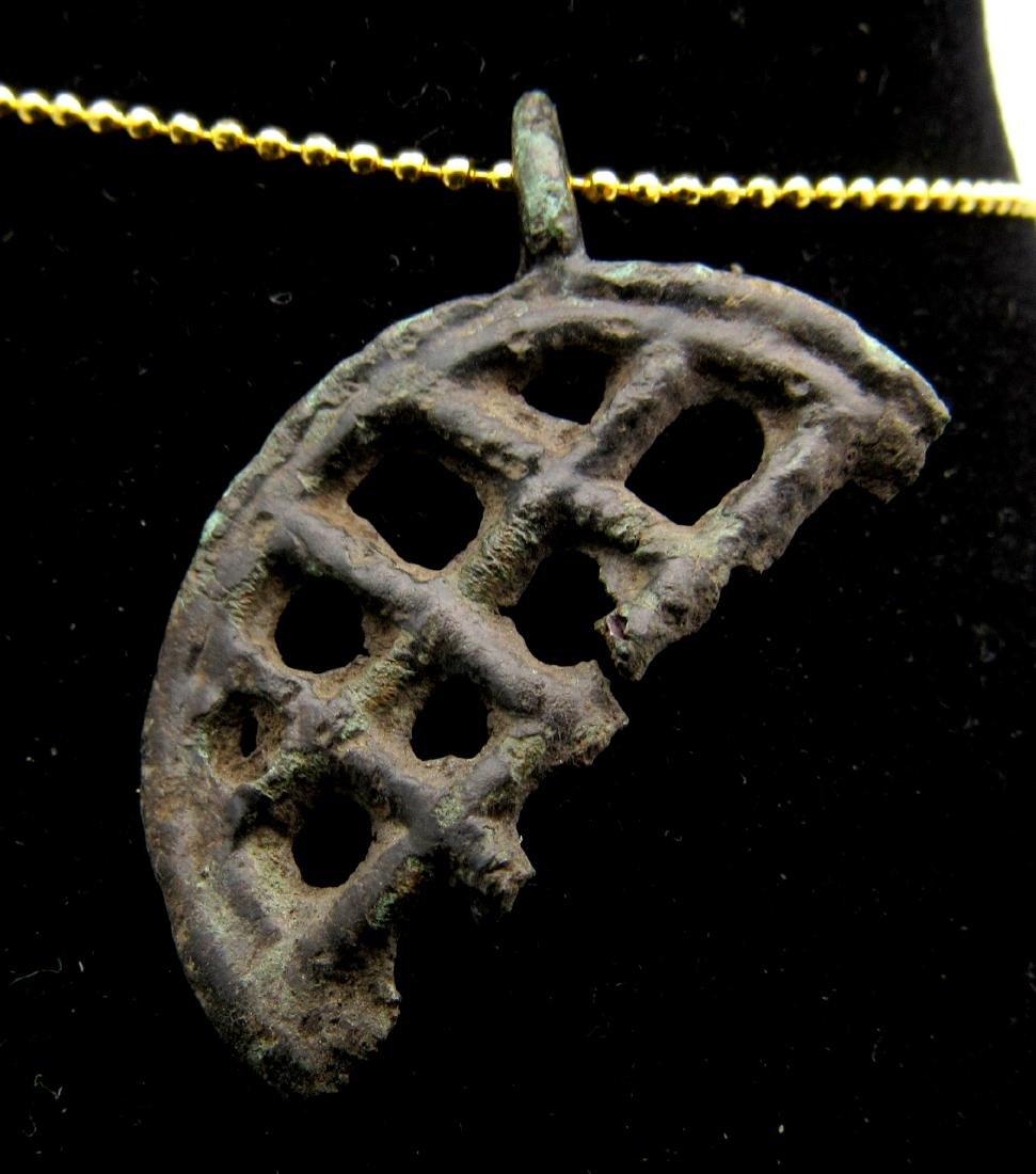 Medieval Bronze Fishermans Religious Pendant