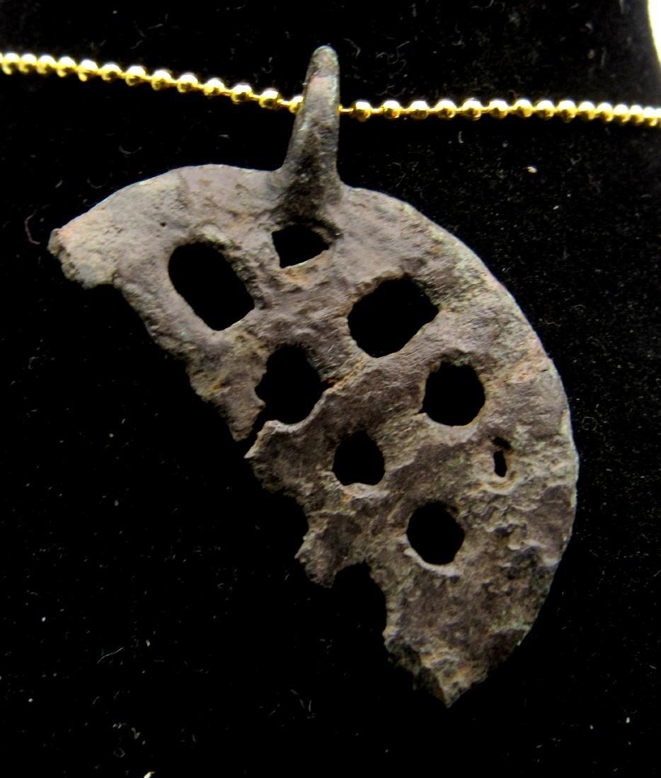 Medieval Bronze Fishermans Religious Pendant - 2